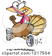 Clipart Of A Cartoon Turkey Bird Running With Sneakers On Royalty Free Vector Illustration by toonaday