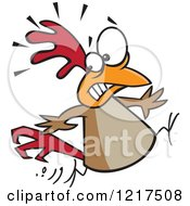 Clipart Of A Scared Cartoon Chicken Running Royalty Free Vector Illustration by toonaday