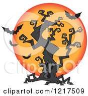 Clipart Of A Cartoon Halloween Spooky Tree With A Full Moon And Bats Royalty Free Vector Illustration