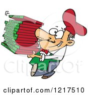Clipart Of A Cartoon Pizza Chef Carrying Delivery Boxes Royalty Free Vector Illustration by Ron Leishman