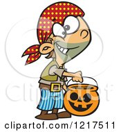 Clipart Of A Cartoon Halloween Boy Trick Or Treating As A Pirate Royalty Free Vector Illustration by toonaday