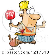 Clipart Of A Cartoon Road Construction Worker Watching A Chicken Cross The Road Royalty Free Vector Illustration by toonaday