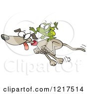 Cartoon Frog Riding On A Running Dog
