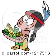 Clipart Of A Cartoon Native American Boy Holding Corn Royalty Free Vector Illustration by toonaday