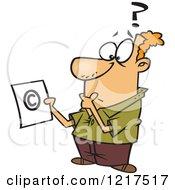 Cartoon Man Pondering Over Copyright