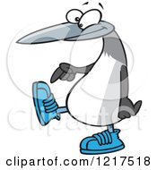 Clipart Of A Cartoon Blue Footed Booby Bird Pointing To Its Sneakers Royalty Free Vector Illustration