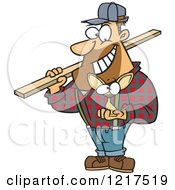 Clipart Of A Cartoon Burly Contractor Holding A Tiny Chihuahua Dog Royalty Free Vector Illustration