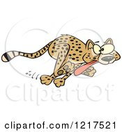 Clipart Of A Cartoon Cheetah Running With Its Tongue Hanging Out Royalty Free Vector Illustration
