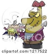 Cartoon Frankenstein Holding A Bad Sandwich