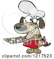 Clipart Of A Cartoon Chef Dog Holding Fresh Baked Biscuits On A Tray Royalty Free Vector Illustration