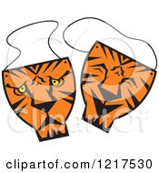 Clipart Of Happy And Sad Tiger Theater Masks Royalty Free Vector Illustration by Johnny Sajem