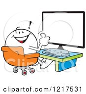 Clipart Of A Moodie Character Holding A Thumb Up In Front Of A Computer Royalty Free Vector Illustration by Johnny Sajem