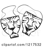 Clipart Of Black And White Happy And Sad Tiger Theater Masks Royalty Free Vector Illustration