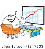 Clipart Of A Moodie Character Holding A Thumb Up In Front Of A Success Chart Royalty Free Vector Illustration by Johnny Sajem