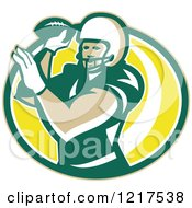 Clipart Of A Quaterback American Football Player Passing Over An Oval Royalty Free Vector Illustration