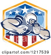 Clipart Of A Running Quaterback American Football Player In A Patriotic Shield Royalty Free Vector Illustration