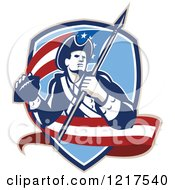 Clipart Of A Retro American Patriot Soldier With An American Football And Flag In A Shield Royalty Free Vector Illustration