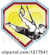 Clipart Of A Retro Athletic Man On The Still Rings Over A Shield Of Ray Royalty Free Vector Illustration by patrimonio