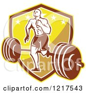Clipart Of A Retro Crossfit Athlete Man Running Over A Barbell On A Shield Royalty Free Vector Illustration