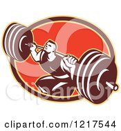Clipart Of A Retro Crossfit Athlete Man Squatting With A Heavy Barbell Over An Oval Royalty Free Vector Illustration