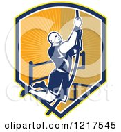 Clipart Of A Retro Crossfit Athlete Climbing A Rope Over A Shield Of Rays Royalty Free Vector Illustration by patrimonio