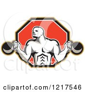 Clipart Of A Retro Crossfit Bodybuilder With Kettlebells In A Red Hexagon Royalty Free Vector Illustration