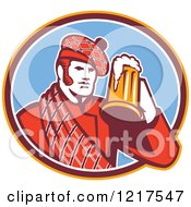 Clipart Of A Retro Scotsman In A Tartan Drinking A Beer In A Blue Oval Royalty Free Vector Illustration by patrimonio