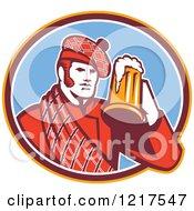 Retro Scotsman In A Tartan Drinking A Beer In A Blue Oval