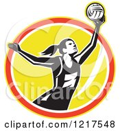 Clipart Of A Retro Female Netball Player Rebounding Over A Yellow Oval Royalty Free Vector Illustration