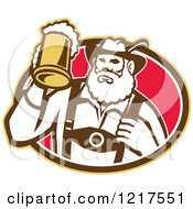 Clipart Of A Retro German Man Holding Up A Mug Of Beer In An Oval Royalty Free Vector Illustration