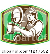 Clipart Of A Retro Bartender Holding A Keg On His Shoulder And Pouring A Beer Over Green Royalty Free Vector Illustration