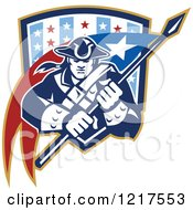 Clipart Of A Retro Patriot Soldier With A Flag In A Star Shield Royalty Free Vector Illustration