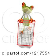Clipart Of A 3d Green Springer Frog Gardener Pushing A Shopping Cart Royalty Free Vector Illustration by Julos