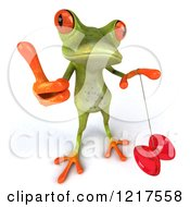 Clipart Of A 3d Green Springer Frog Playing With A Yo Yo And Holding A Thumb Up Royalty Free Vector Illustration