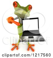 Clipart Of A 3d Green Springer Frog Gardener Presenting A Laptop Royalty Free Vector Illustration by Julos