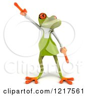 Clipart Of A 3d Green Springer Frog Gardener Dancing Royalty Free Vector Illustration by Julos