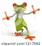 Clipart Of A 3d Green Springer Frog Gardener Dancing 2 Royalty Free Vector Illustration by Julos