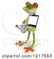 Clipart Of A 3d Green Springer Frog Gardener Holding A Watering Can And A Laptop 2 Royalty Free Vector Illustration by Julos