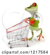 Clipart Of A 3d Green Springer Frog Gardener Pushing A Shopping Cart 3 Royalty Free Vector Illustration by Julos