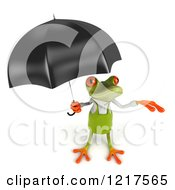 Clipart Of A 3d Springer Frog Gardener With An Umbrella Royalty Free Vector Illustration by Julos