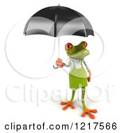 Clipart Of A 3d Springer Frog Gardener With An Umbrella 2 Royalty Free Vector Illustration by Julos