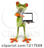 Clipart Of A 3d Green Springer Frog Gardener Pointing To A Laptop Royalty Free Vector Illustration by Julos