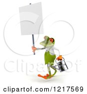 Clipart Of A 3d Green Springer Frog Gardener Walking With A Watering Can And Sign Royalty Free Vector Illustration by Julos