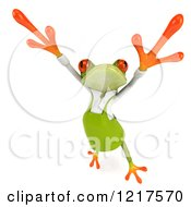 Clipart Of A 3d Green Springer Frog Gardener Jumping Royalty Free Vector Illustration by Julos