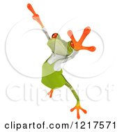 Clipart Of A 3d Green Springer Frog Gardener Jumping 2 Royalty Free Vector Illustration by Julos
