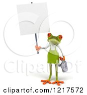 Clipart Of A 3d Green Springer Frog Gardener With A Watering Can And Sign Royalty Free Vector Illustration by Julos
