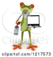 Clipart Of A 3d Green Springer Frog Gardener Holding A Watering Can And A Laptop Royalty Free Vector Illustration by Julos