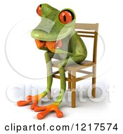 Clipart Of A 3d Green Springer Frog Sitting In A Chair And Thinking 3 Royalty Free Vector Illustration
