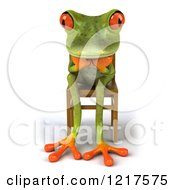 Clipart Of A 3d Green Springer Frog Sitting In A Chair And Thinking Royalty Free Vector Illustration