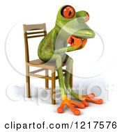 Clipart Of A 3d Green Springer Frog Sitting In A Chair And Thinking 2 Royalty Free Vector Illustration